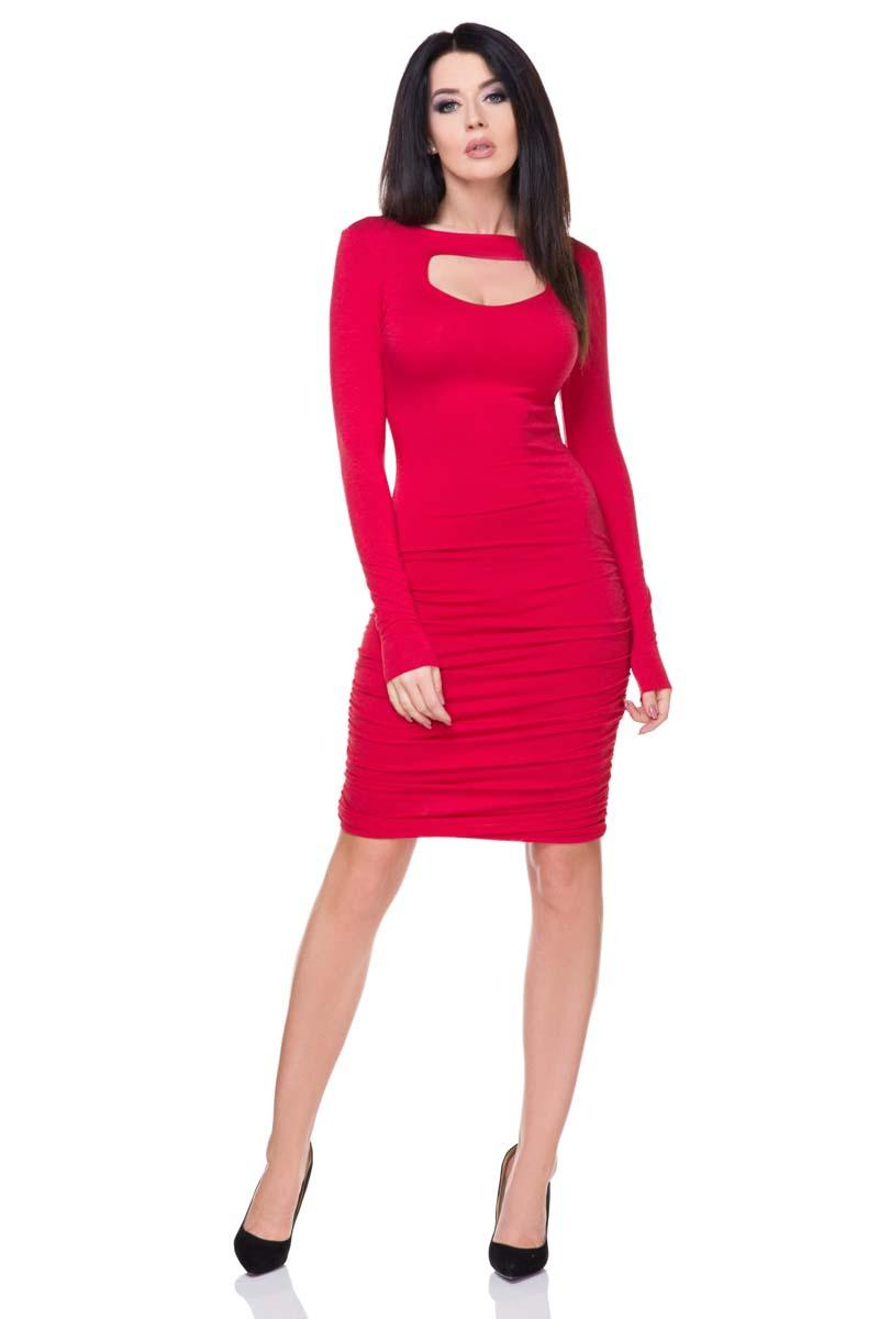 Red Bodycon Wrinkled Midi Dress