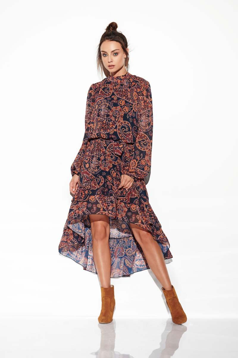 Airy Asymmetrical Dress With Frills in Pattern Print 2