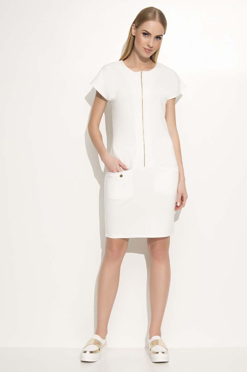 ecru-casual-dress-with-a-zipp