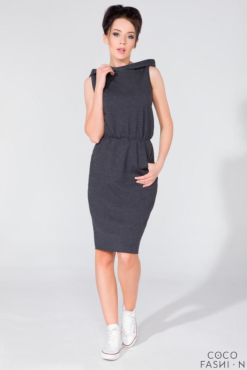 dark-grey-hooded-sport-style-knee-length-dress