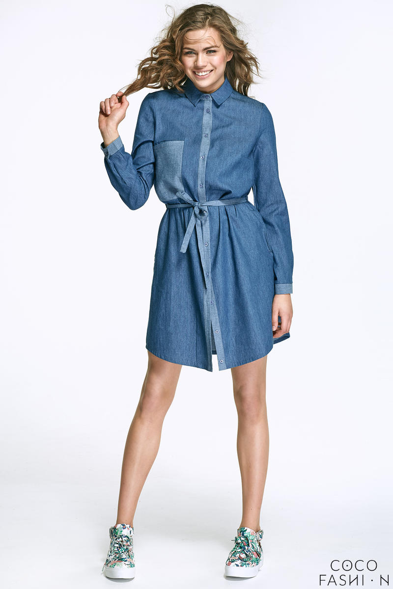 Jeans Belted Shirt Dress