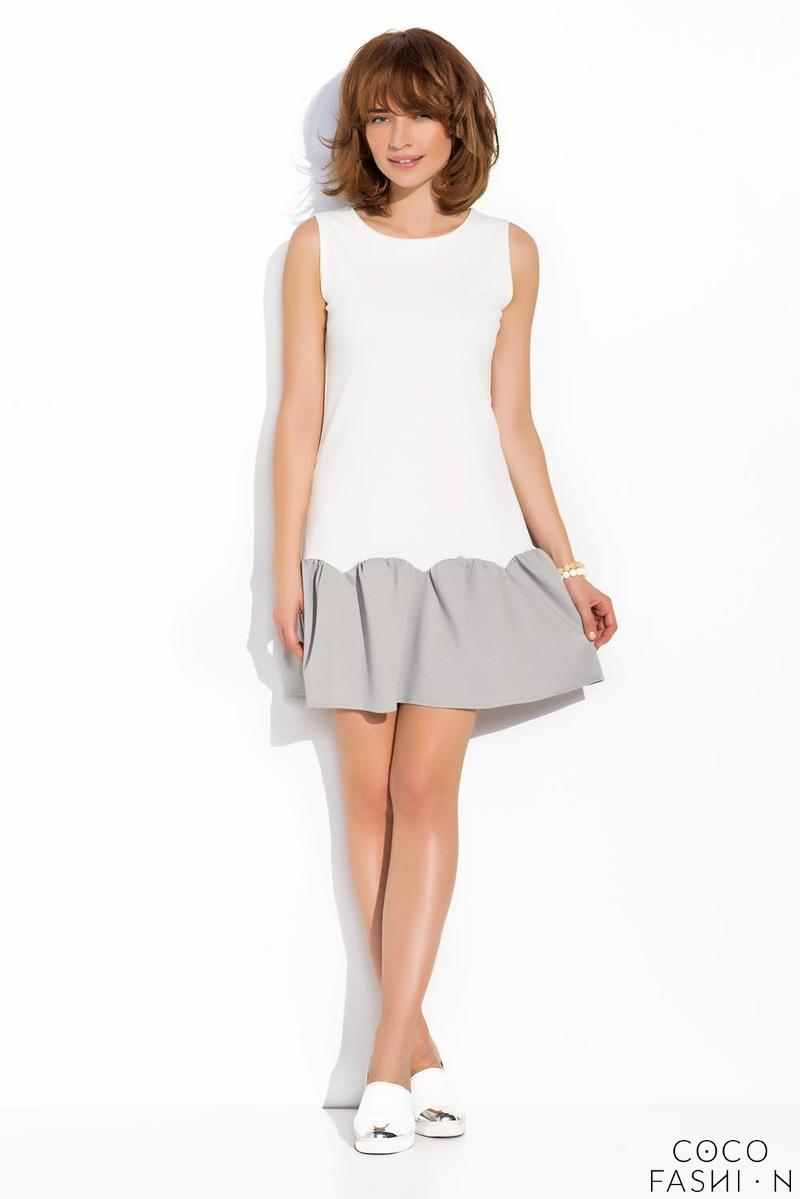Ecru Sleeveless Drop Waist Dress