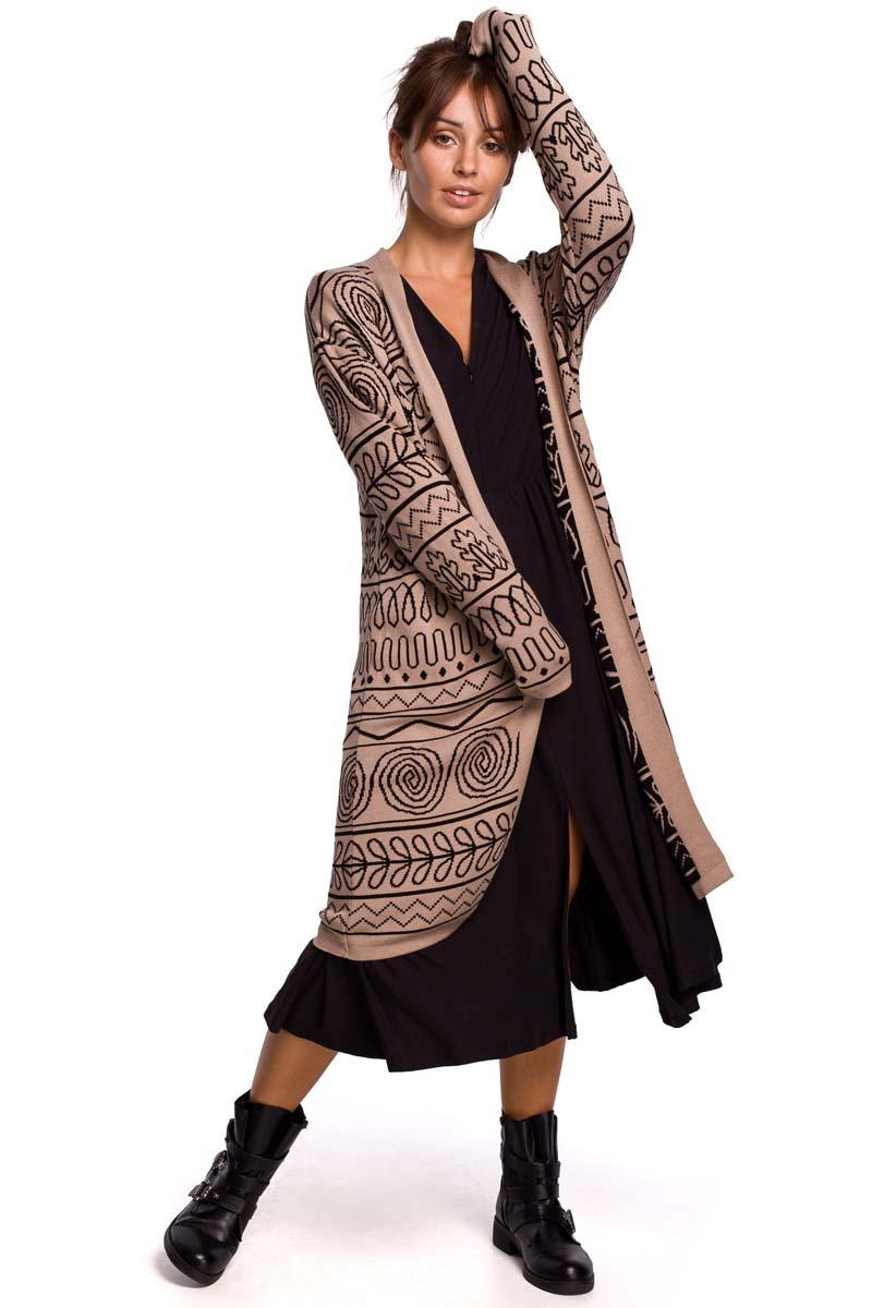 Maxi Patterned Cardigan with Rounded Hem (Pattern 3)