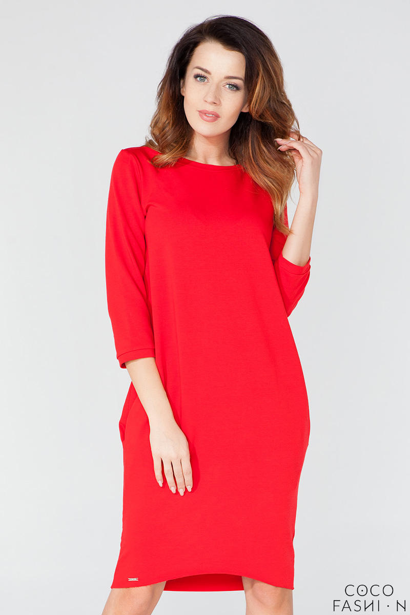 Red Classic Plain 3/4 Sleeves Knee Length Casual Dress