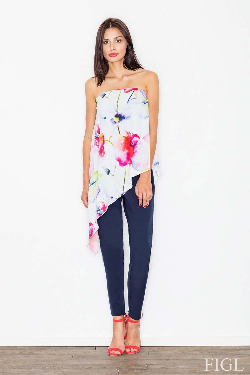 Two Pieces Jumpsuit Flowered Top and Navy Plain Bottom