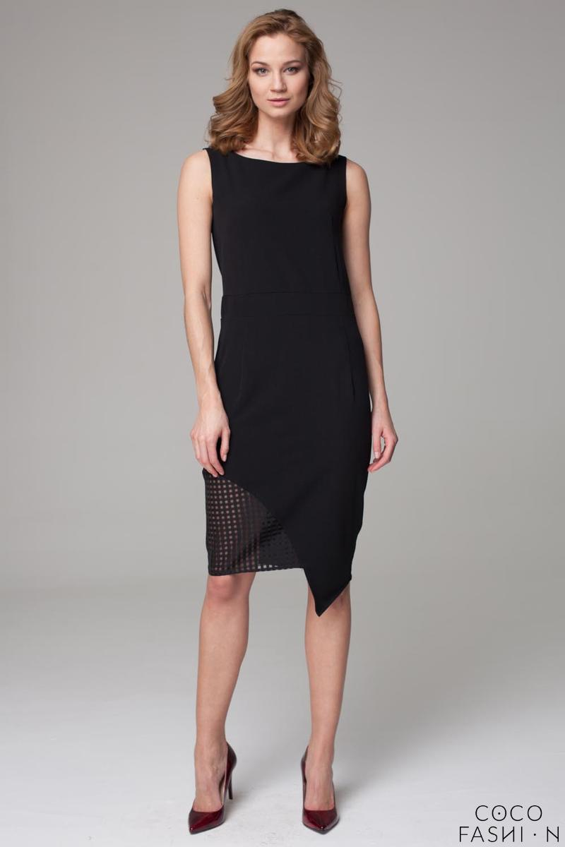 Black Asymetrical Dress with Transparent Detail