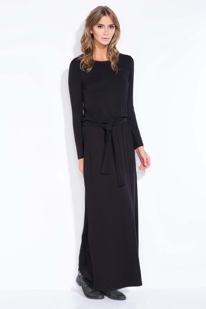 Black Casual Fit Belted Maxi Dress