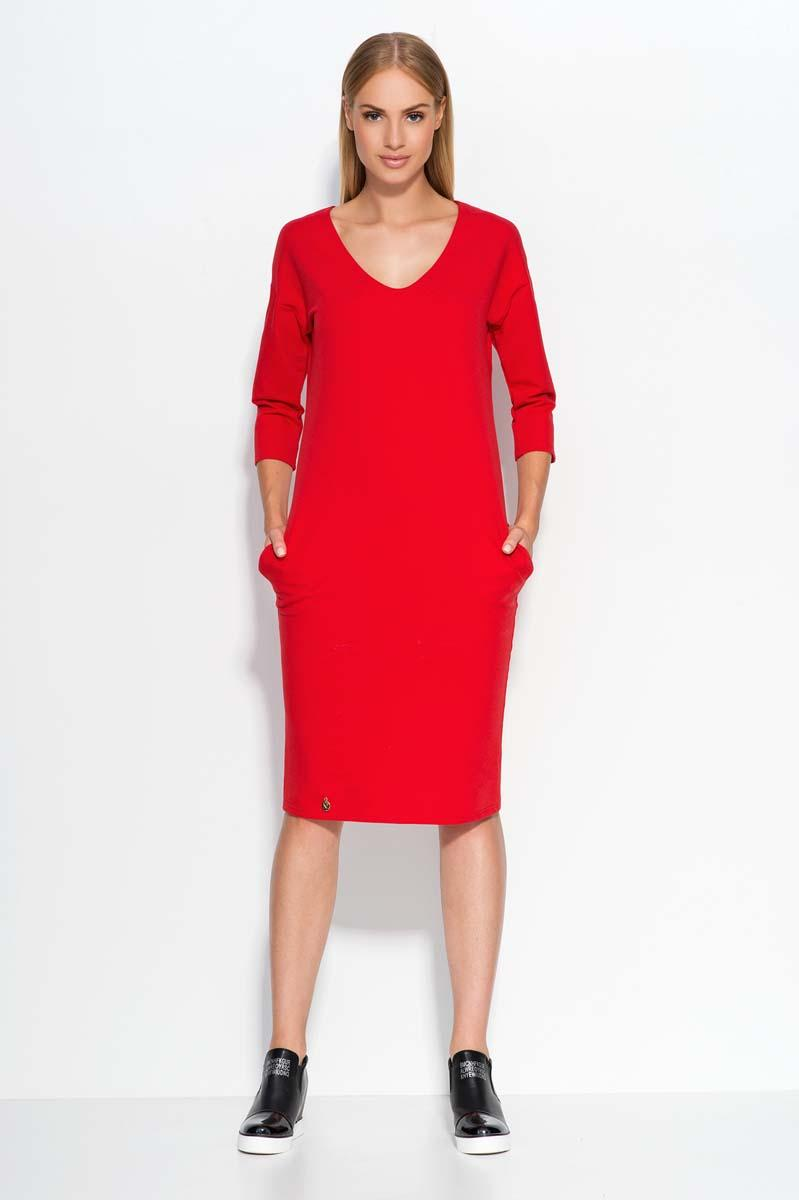 Red Casual Dress with Pockets