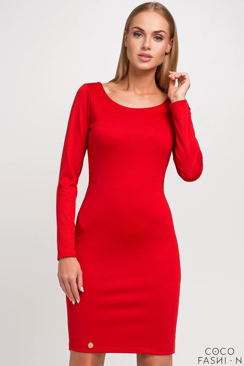 Red Classic Plain Long Sleeves Dress