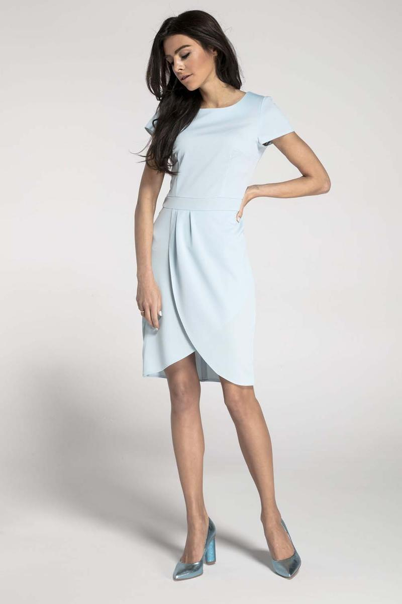 Light Blue Classic Short Sleeves Dress