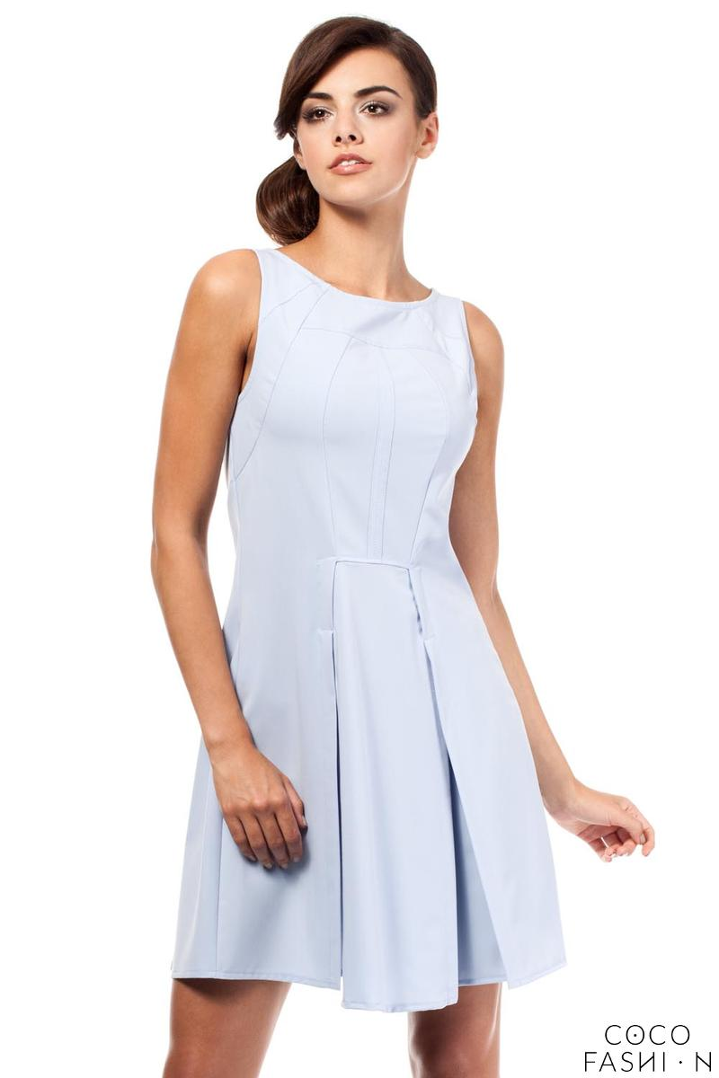 Sky Blue Sleeveless Pleated Round Neckline Dress
