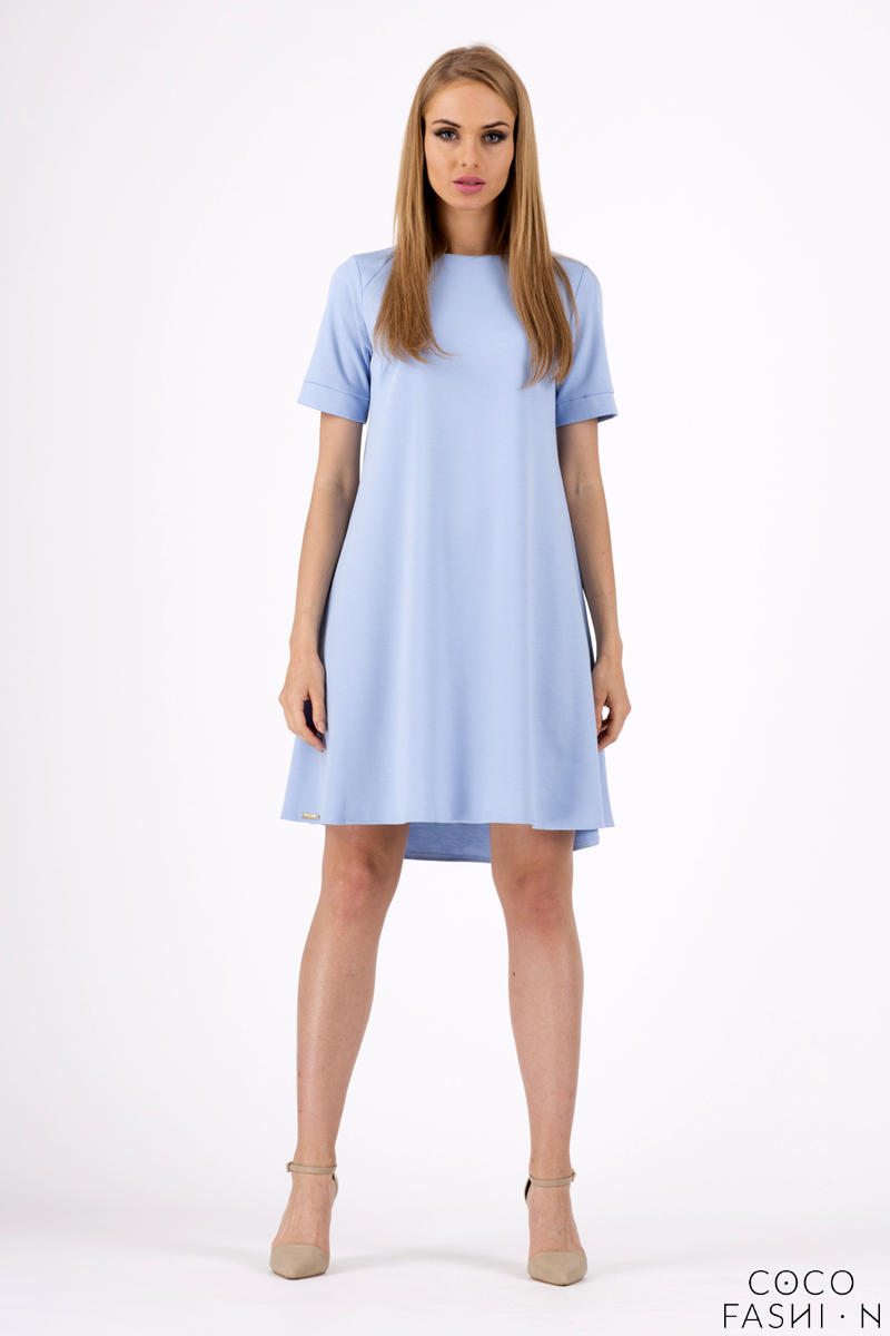 Light Blue Short Sleeves Flared Knee Lenght Dress
