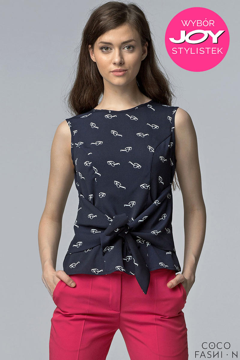 Navy Blue Glasses Printed Blouse with Bow Tie Waist