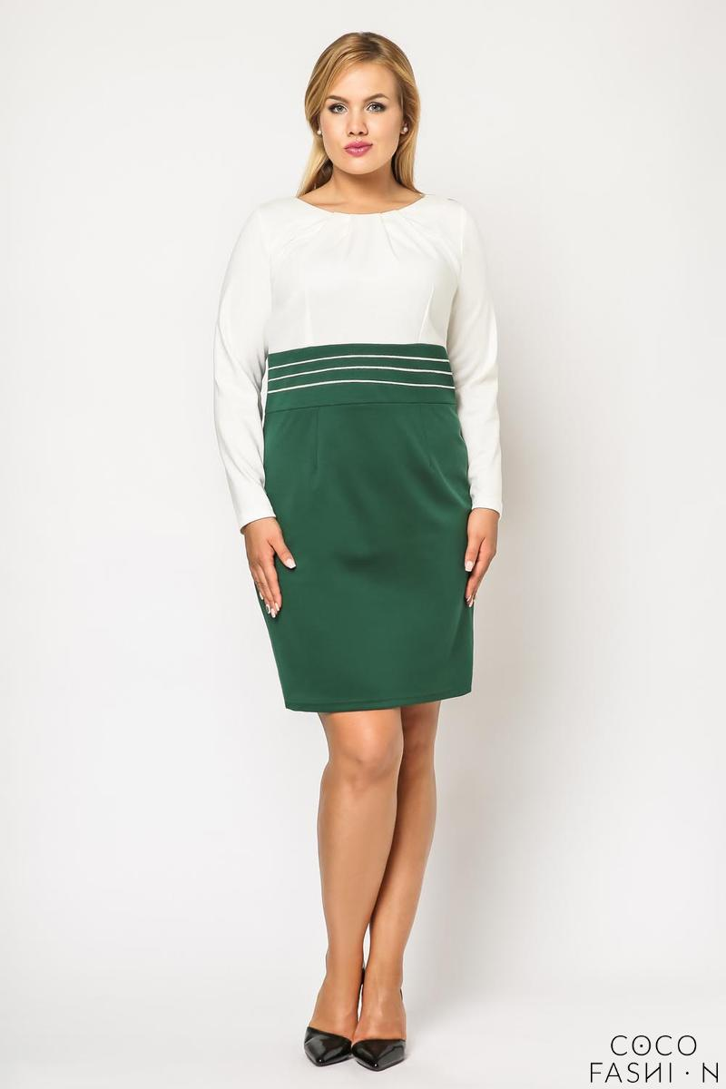 green-white-elegant-knee-length-dress-plus-size