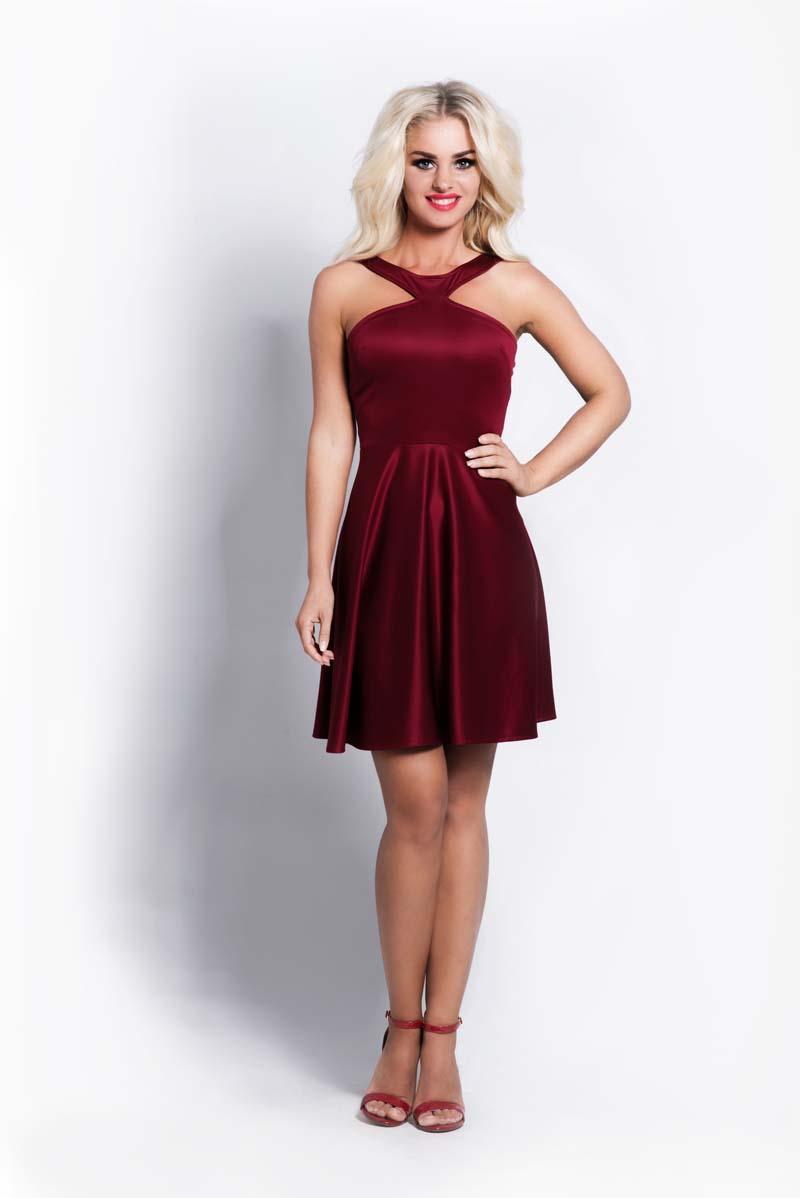 maroon-halterneck-coctail-dress
