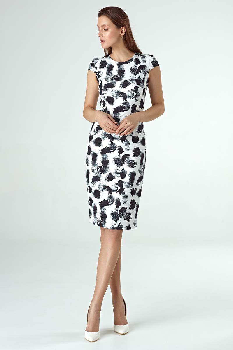Fitted Midi Dress with Pattern