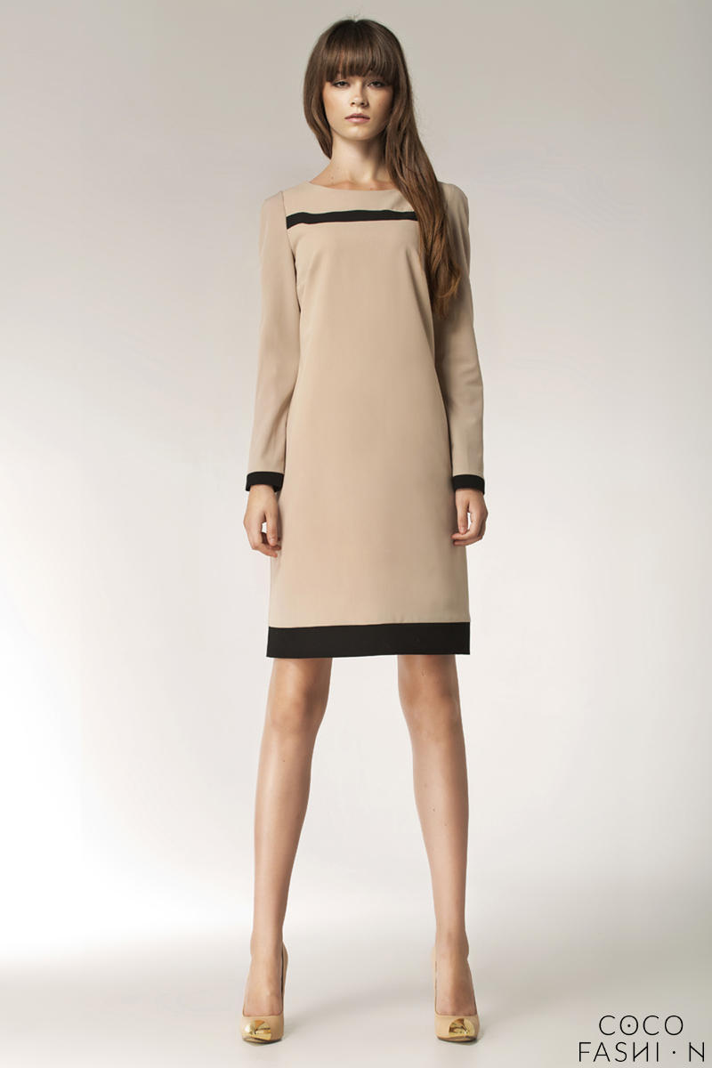 beige-stylish-sunken-office-shift-dress