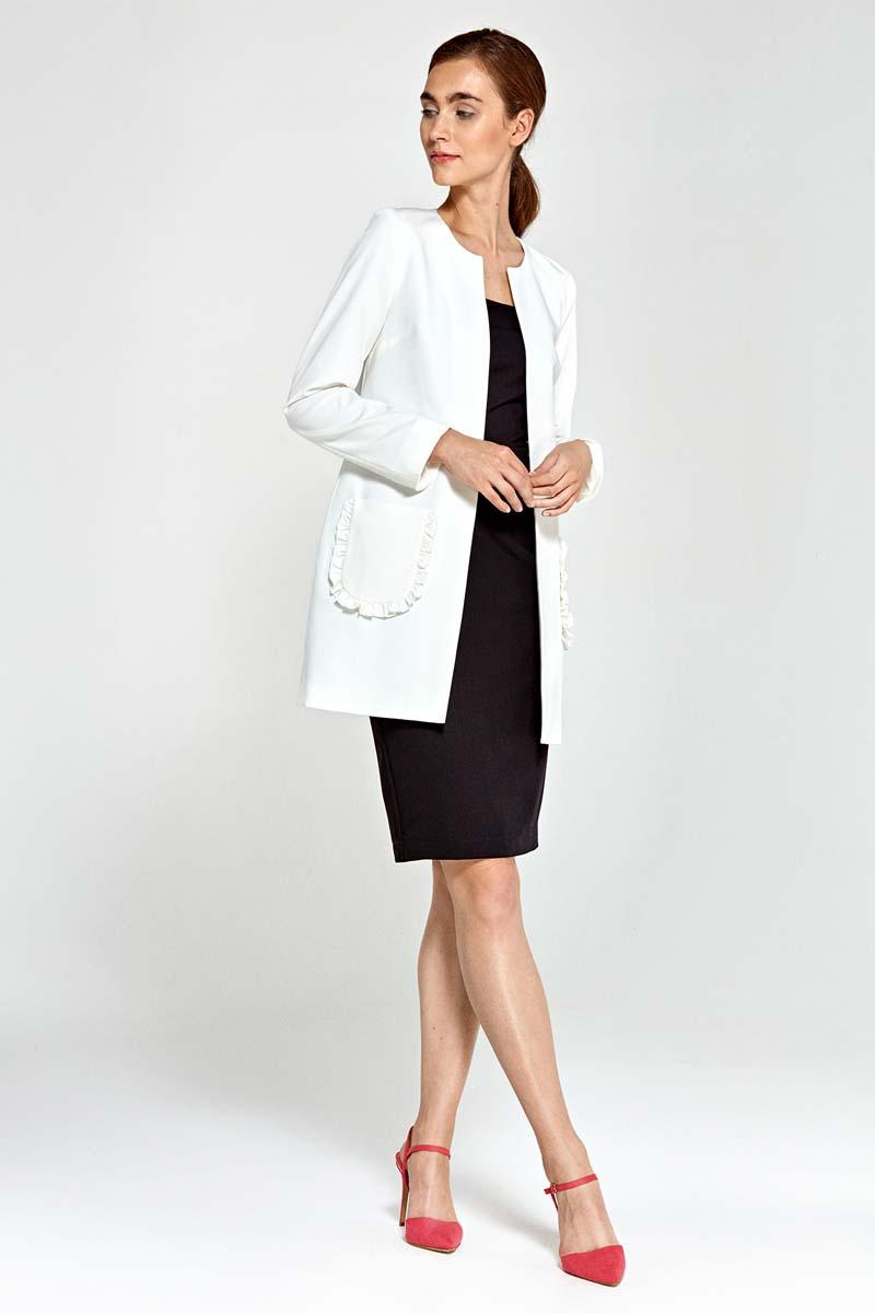 Ecru Long Ladies Blazer with Frills around Pockets