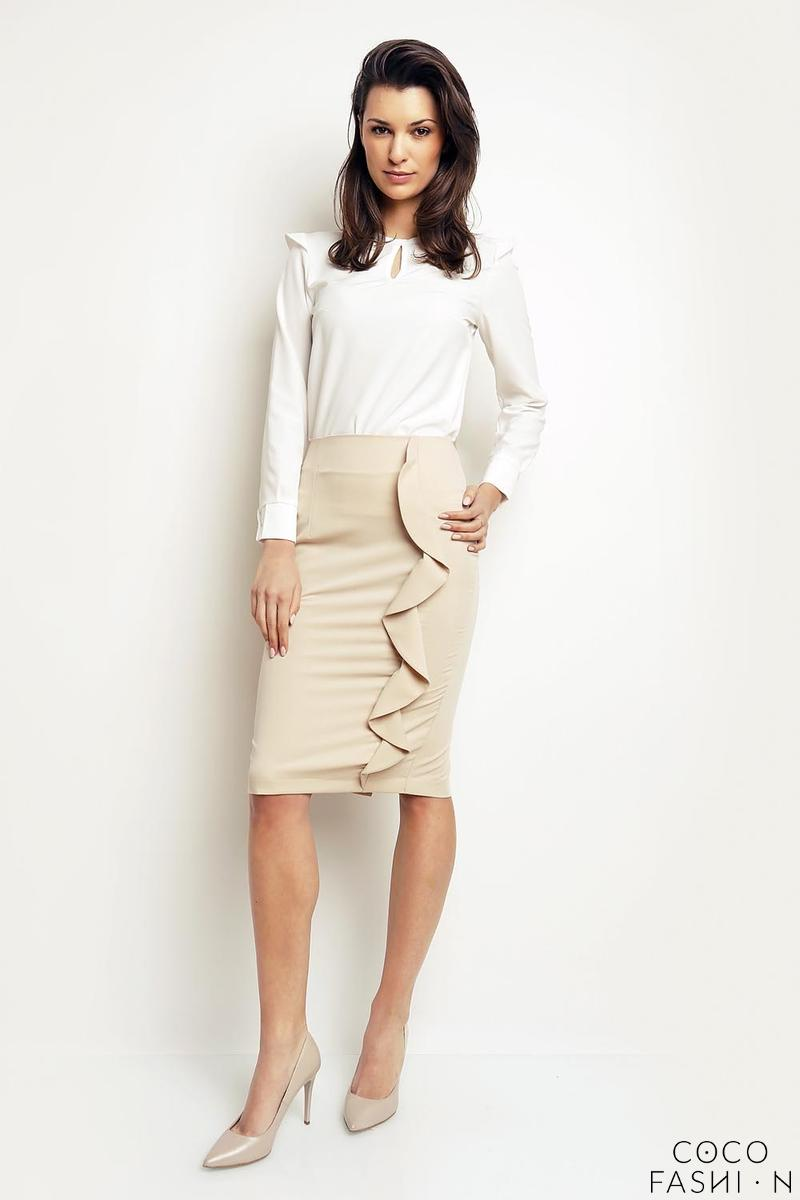Beige Pencil Midi Skirt with a Frill