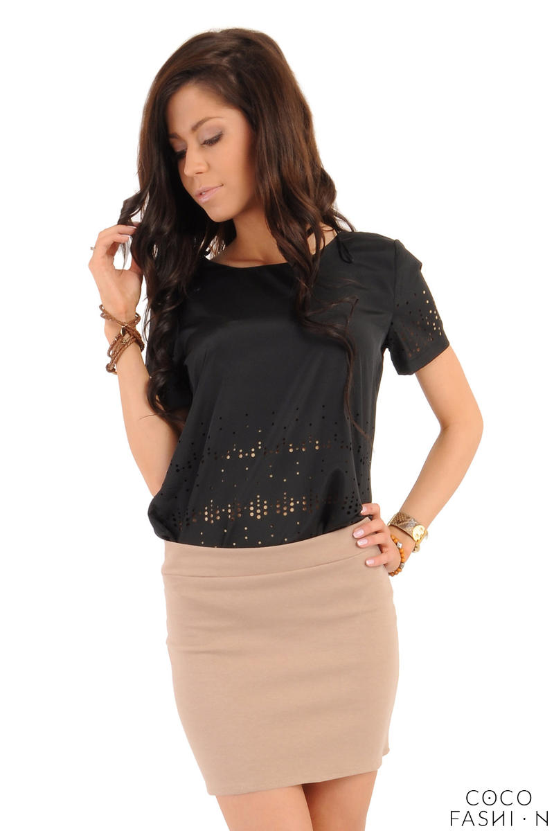 Coffee Pencil Mini Skirt with Back Zip Fastening