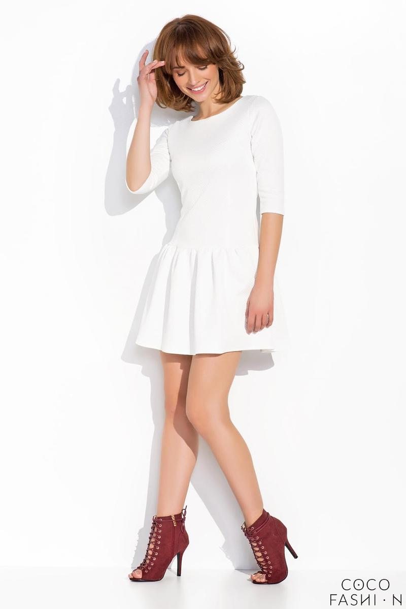 White Delicate Pattern Mini Dress with Frill