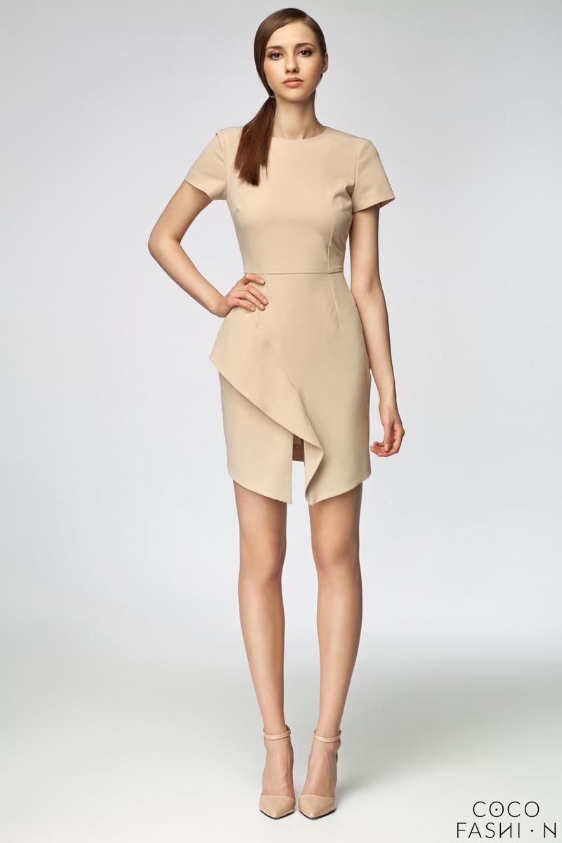 beige-asymetrical-frill-mini-dress