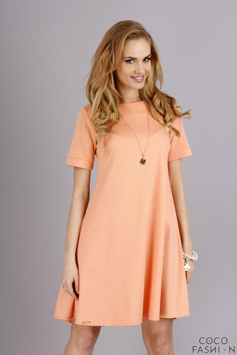 Apricot Short Sleeves Flared Knee Lenght Dress