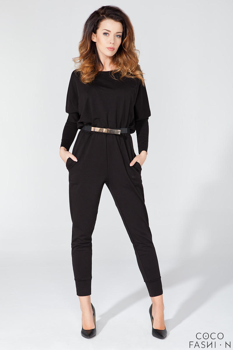 Black Bat Sleeves Tapered Legs Jumpsuit