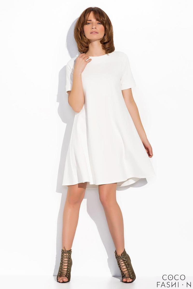 Ecru Short Sleeves Mini Swing Dress
