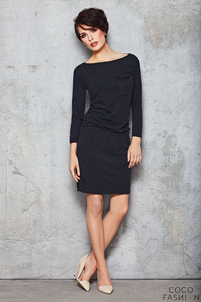 Navy blue Stretch Shift Dress with Long Sleeves
