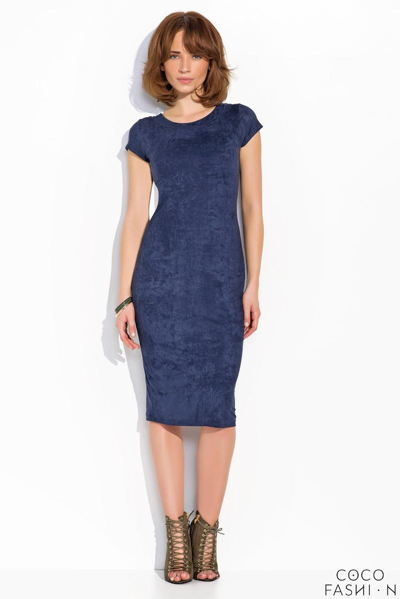 Dark Blue Bodycon Short Sleeves Midi Dress