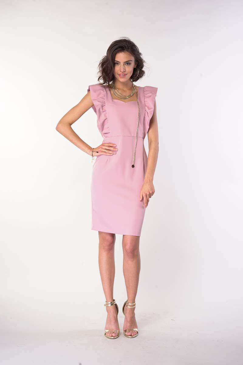 Fitted Dress with Frills and a Heart Neckline - Light pink