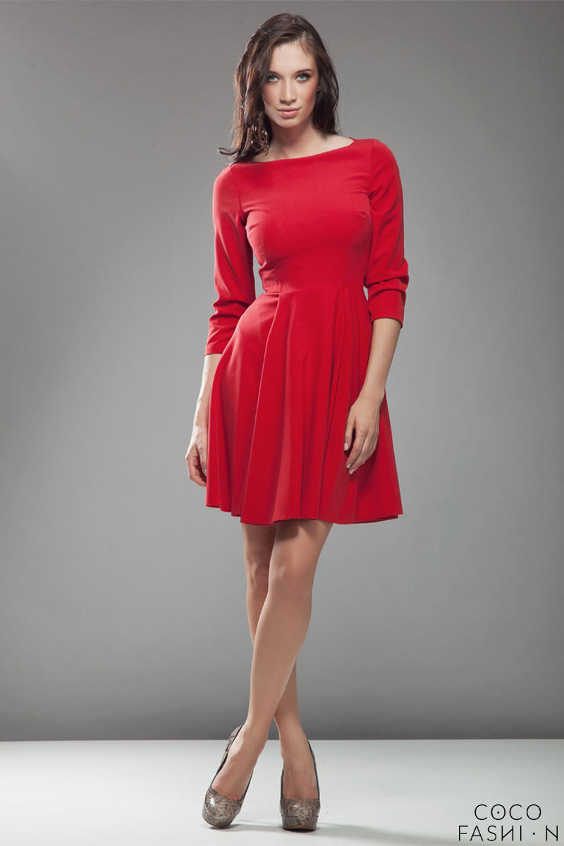 red-high-elegance-workwear-skater-dress