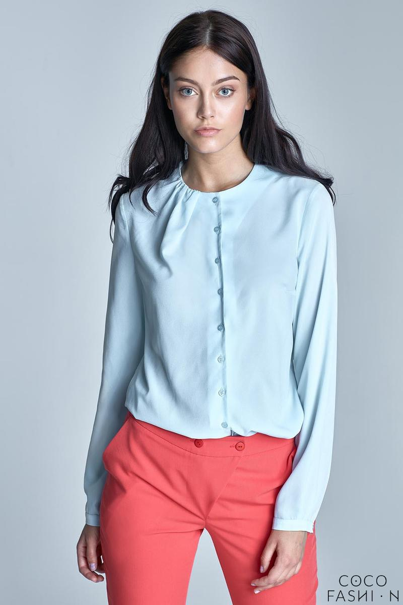 Light Blue Round Neckline Long Sleeved Shirt
