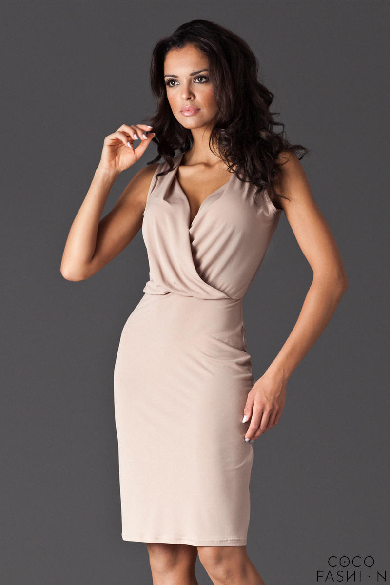 Beige Wraparound V-Neckline Sleeveless Shift Dress