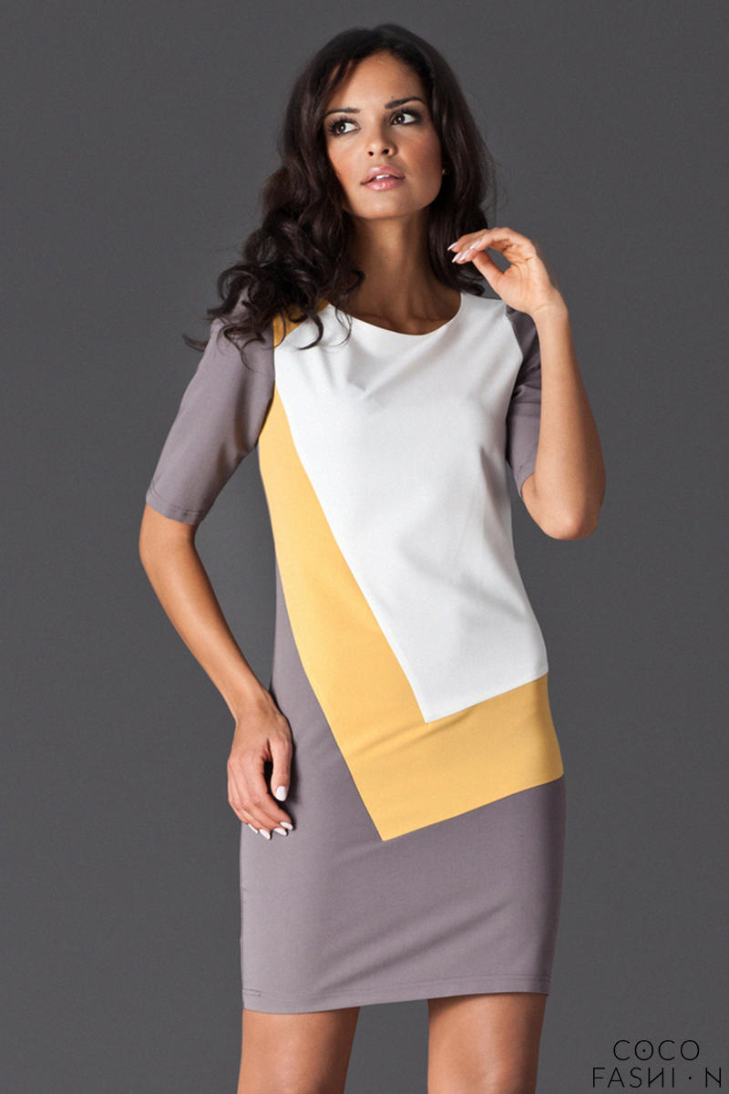 Yellow Asymmetrical Color Block Shirt Dress