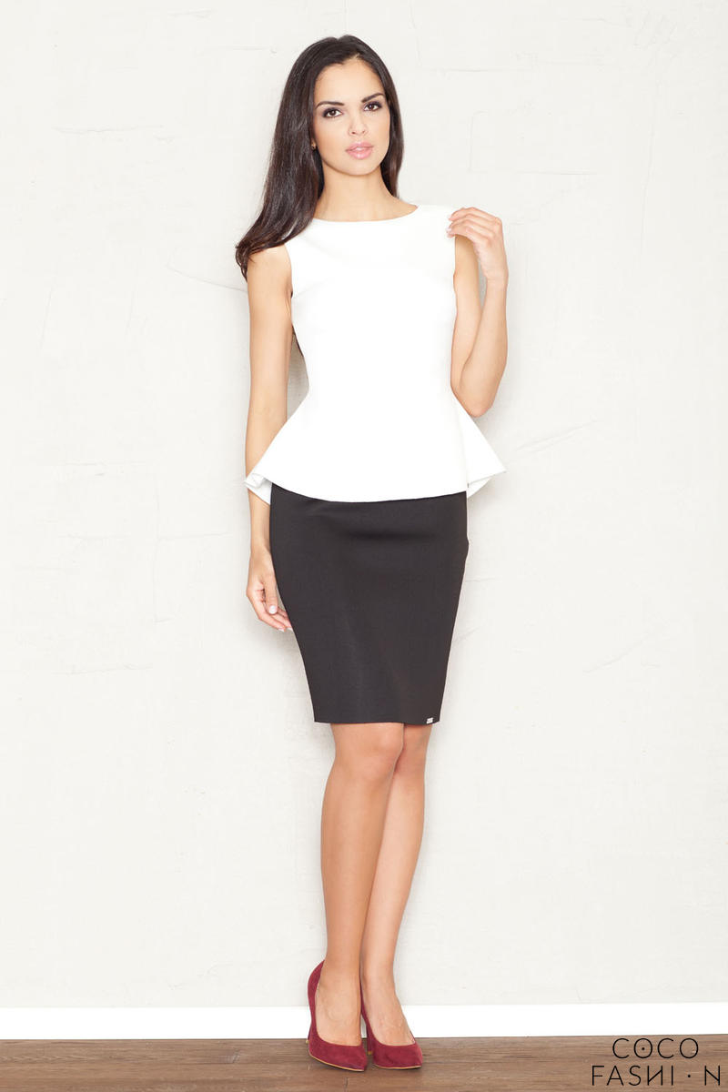 Black Flecked Pencil Skirt with Hem Emblem