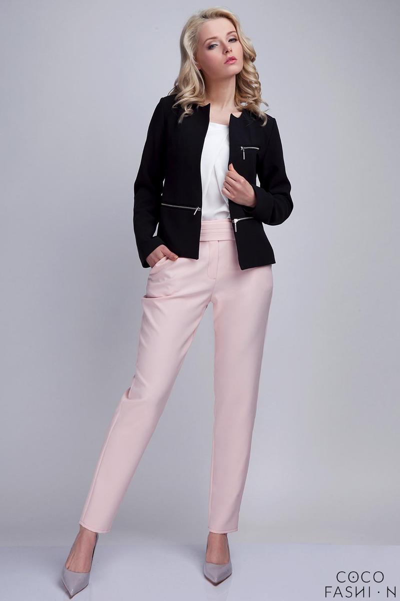 Black Elegant Ladies Blazer with 3 Zippers