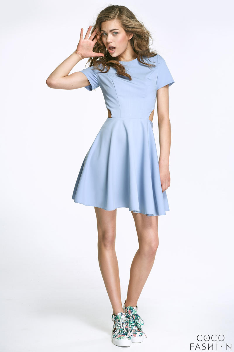 Sky Blue  Flared Mini Dress with Cut out Sides
