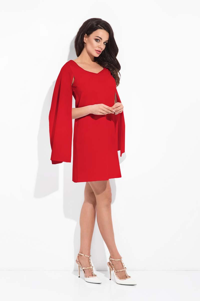 Red Flared Dress with Unique Sleeves