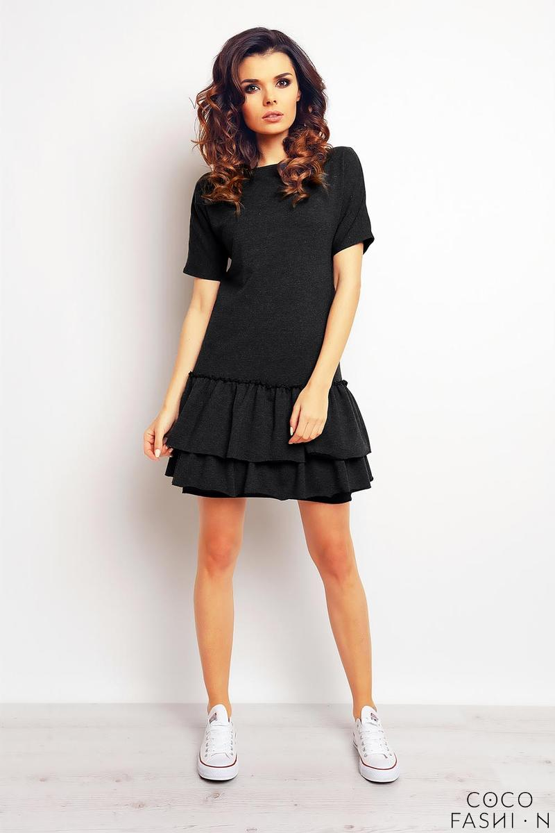 Dark Grey Double Frill Casual Mini Dress