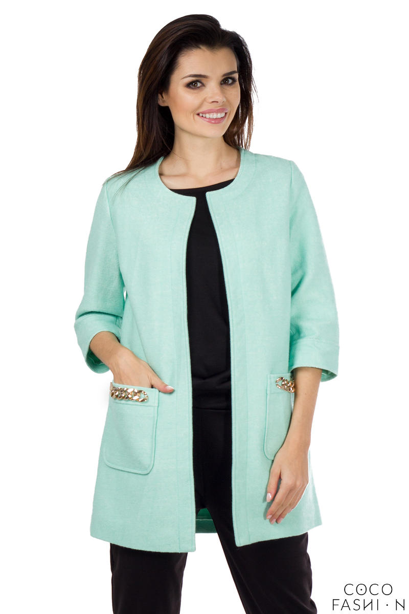 Mint Green Stylish Spring Style 3/4 Sleeves Coat with Chains
