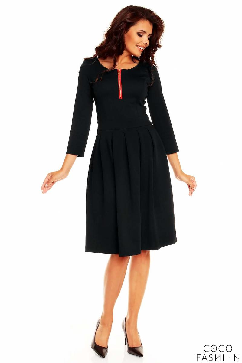 Black Pleated Flippy Dress with Contrast Neckline Details