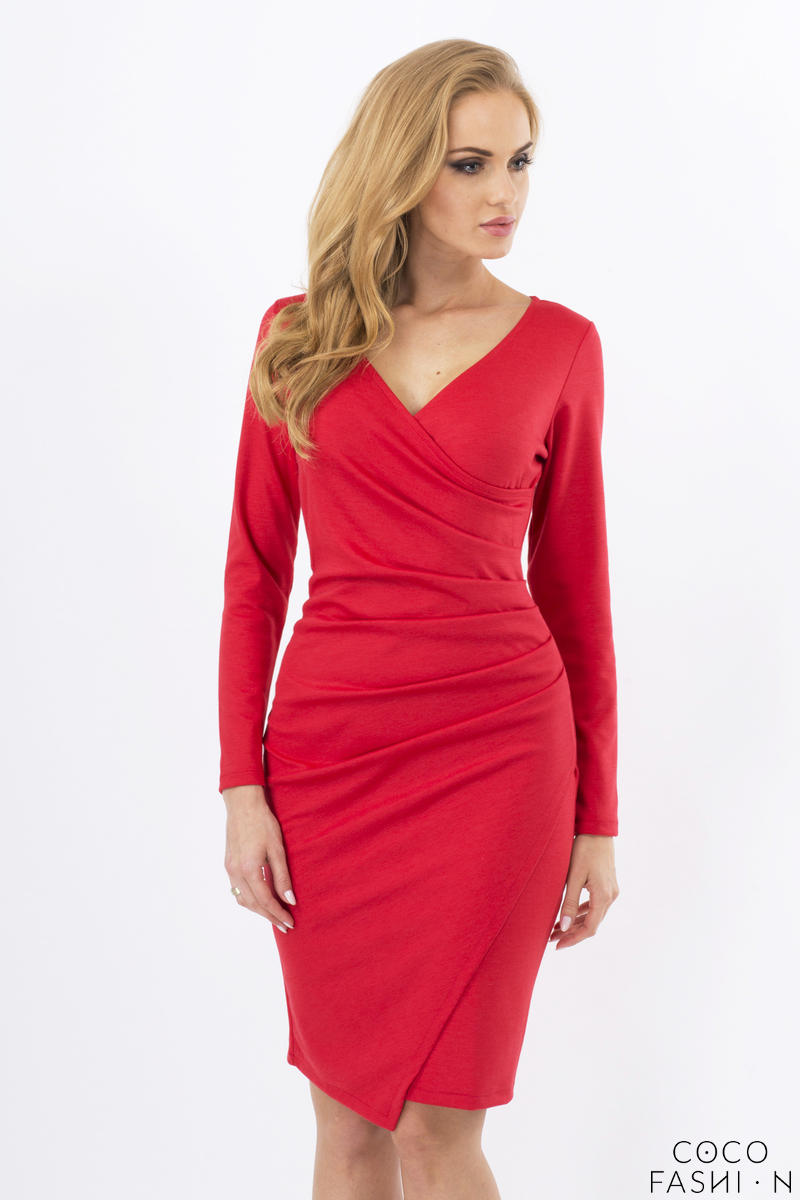 Red Wrinkled Elegant V-Neckline Dress