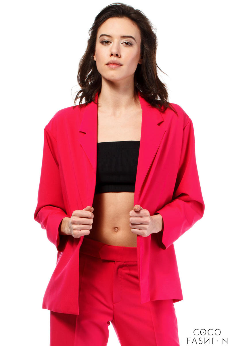 Pink Loose Fit Classic Style Blazer