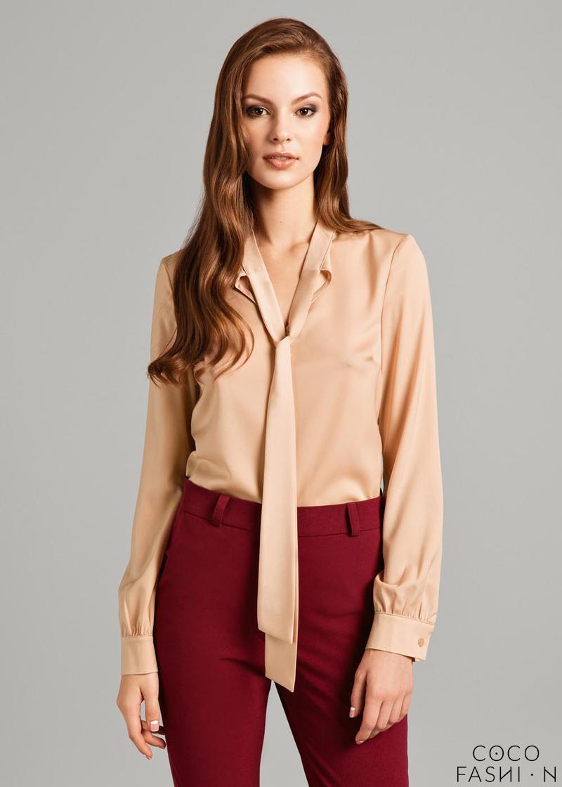 Camel Brown Chic Shirt with Self Tie Sash