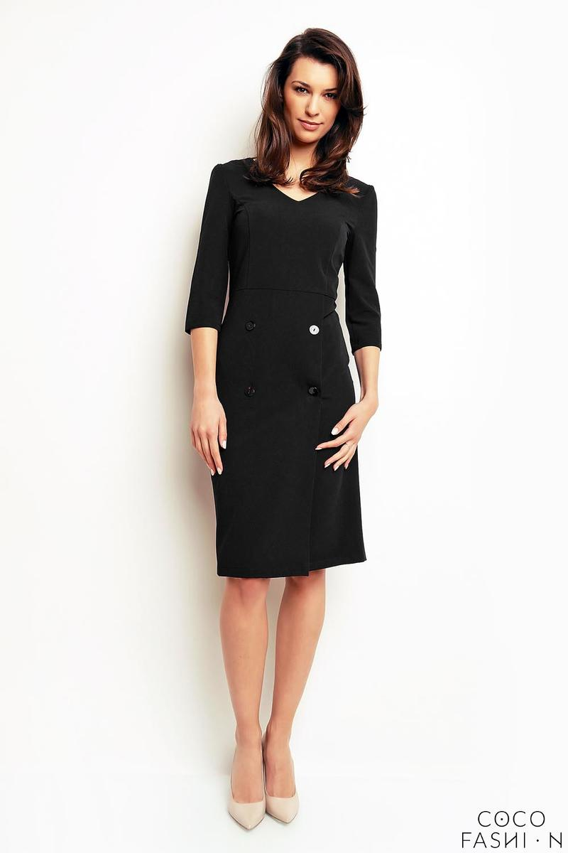Black Office Style 3/4 Sleeves Dress with Buttons