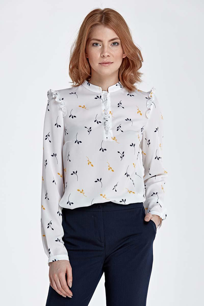 Twigs Pattern Shirt with Frills