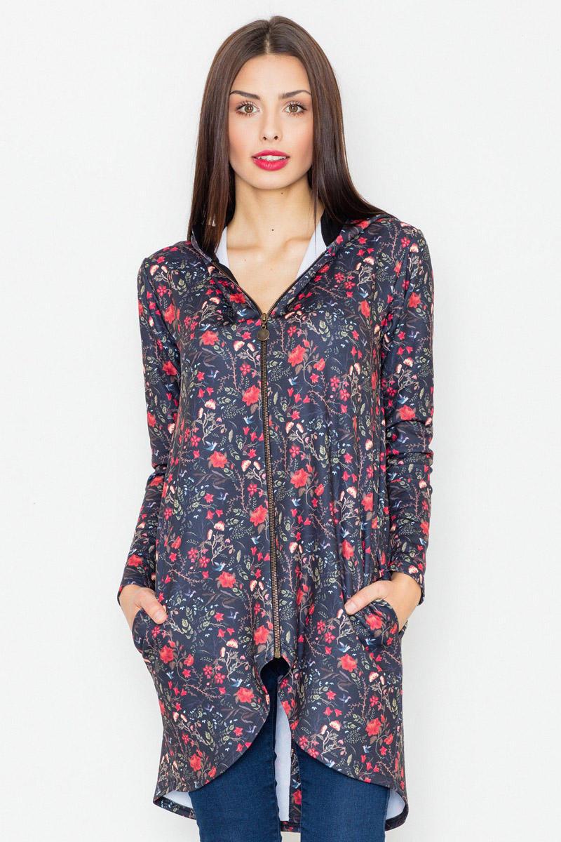 black-zipper-floral-pattern-hoodie