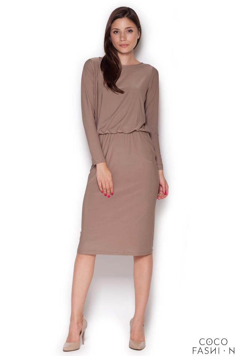 Beige Back Slit Knee Length Shift Dress